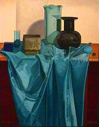 Laura SHECHTER painting Still Life with Blue Cloth