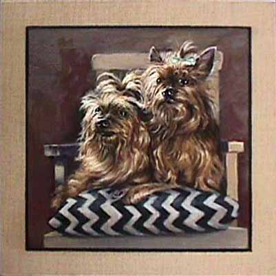 Patricia Hansen dog painting Yorkies