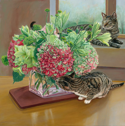 Patricia Hansen still life painting with Cats Joey and Cali