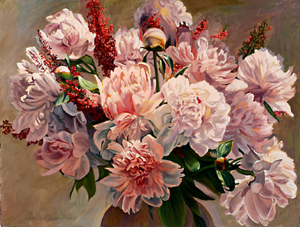 Patricia Hansen floral painting Pink Peonies