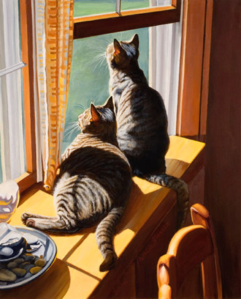 Patricia Hansen cats painting Bird Watching