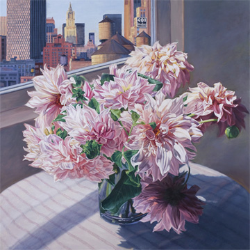 Patricia Hansen square flower painting Dahlias