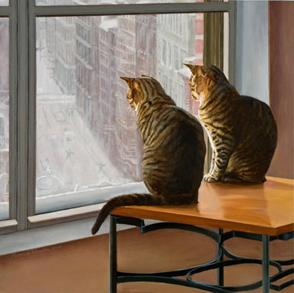 Patricia Hansen cats painting Sentinels