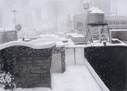 Patricia Hansen charcoal Rooftops in Snow