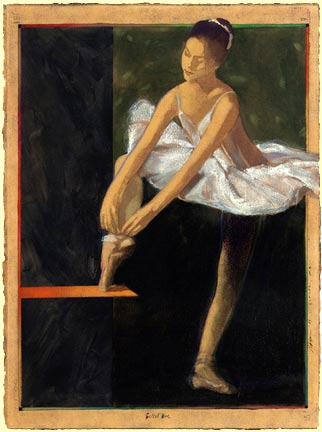 Adjusting  classical ballet painting Reed Dixon