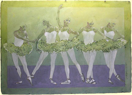 Ballet Five  classical ballet painting Reed Dixon