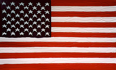 Rein Triefeldt carved American flag relief painting